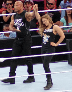 the rock and rhonda rousey at wrestlemania 31.